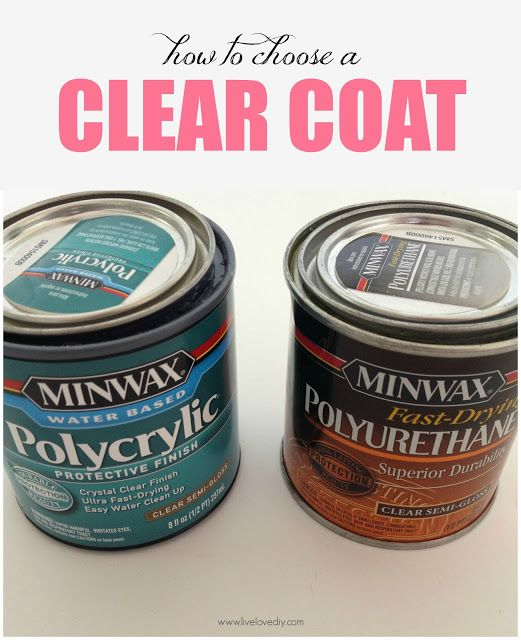 10 Paint Tips & Tricks You Never Knew! Virginia of Live Love DIY. ttp://www.livelovediy.com/2013/05/10-painting-tips-tricks-you-never-knew.html . #7. Use the correct type of clear coat finish.…..I wish I had known.....I  use Polycrylic as my top coat. It gives me the durable finish I want, but doesn't yellow over time like Polyurethane will. ...I like Polycrylic ..it cleans up with water. You'll have to use mineral spirits for Polyurethane
