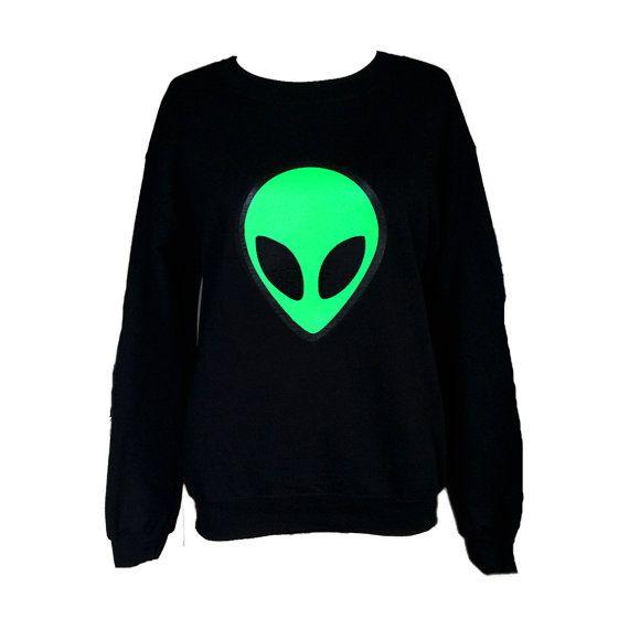 Alien Sweatshirt - Black Crew neck Sweatshirt- - Screen Printed Alien Shirt - Alien Jumper - Grunge Sweatshirt - UFO