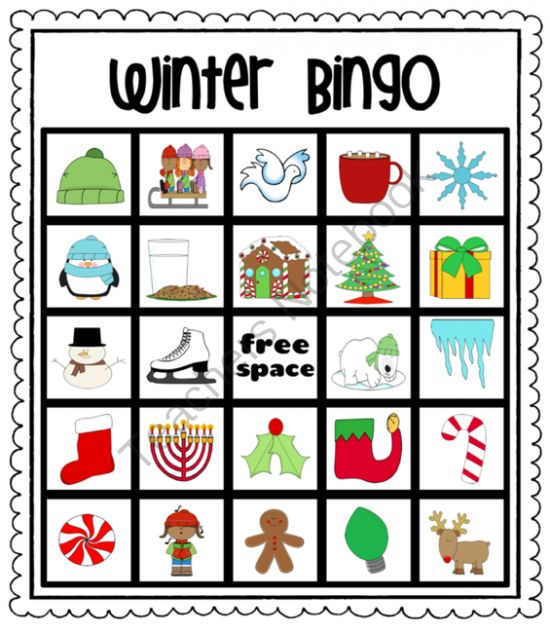 Winter (Christmas) Bingo from Pioneer Teacher on TeachersNotebook.com (35 pages) comes with calling cards for the teacher, too!