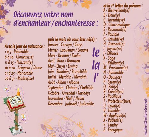 Découvrez votre nom d'enchanteur / enchanteresse !