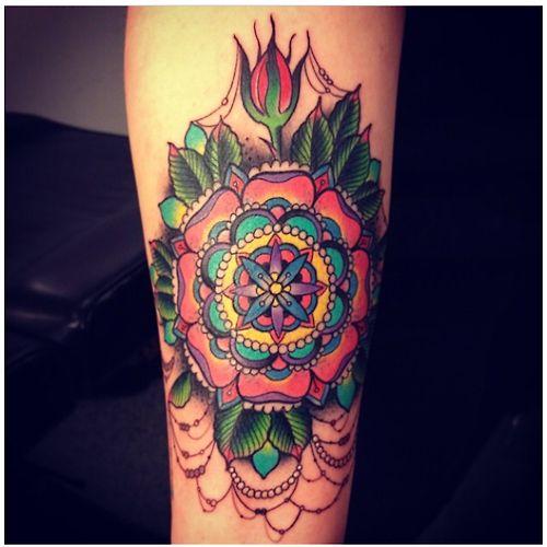 Colorful, fancy mandala done by Devin at Laguna Tattoo in Laguna Beach, CA