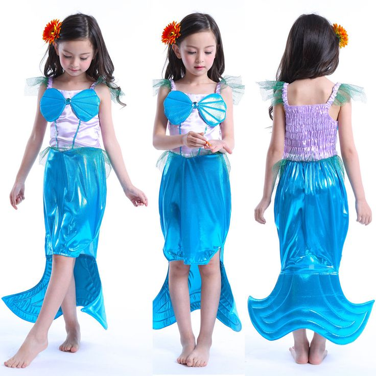 Mermaid Costume Tail Fin Skirt Halloween Fancy Party Princess Dress for Girls #Unbranded #Swimsuit