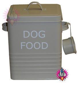 Large Storage Containers | ... VINTAGE RETRO OLIVE GREEN LARGE DOG FOOD STORAGE CONTAINER TIN NEW