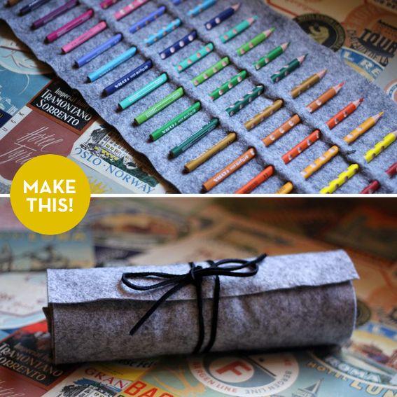 DIY: no-sew colored pencil roll