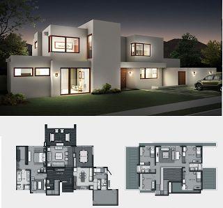 Planos de Casas Gratis: Modelo casa Moderna 258 m2