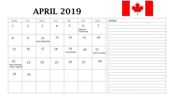 April 2019 Canada Holidays Calendar With Notes 2019 Calendar