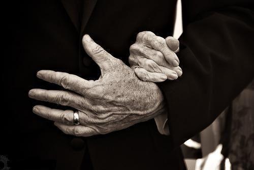 elderly hands in love