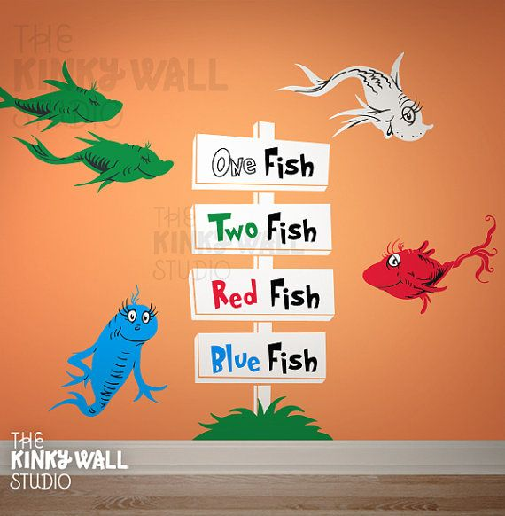 Lorax character One Fish, Two Fish, Red Fish, Blue Fish, Baby, Kids Wall decal Wall sticker - Dr seuss - 154