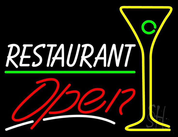 White Restaurant With Martini Glass Open Neon Sign 24 Tall x 31 Wide x 3 Deep, is 100% Handcrafted with Real Glass Tube Neon Sign. !!! Made in USA !!!  Colors on the sign are White, Yellow, Red And Green. White Restaurant With Martini Glass Open Neon Sign is high impact, eye catching, real glass tube neon sign. This characteristic glow can attract customers like nothing else, virtually burning your identity into the minds of potential and future customers.