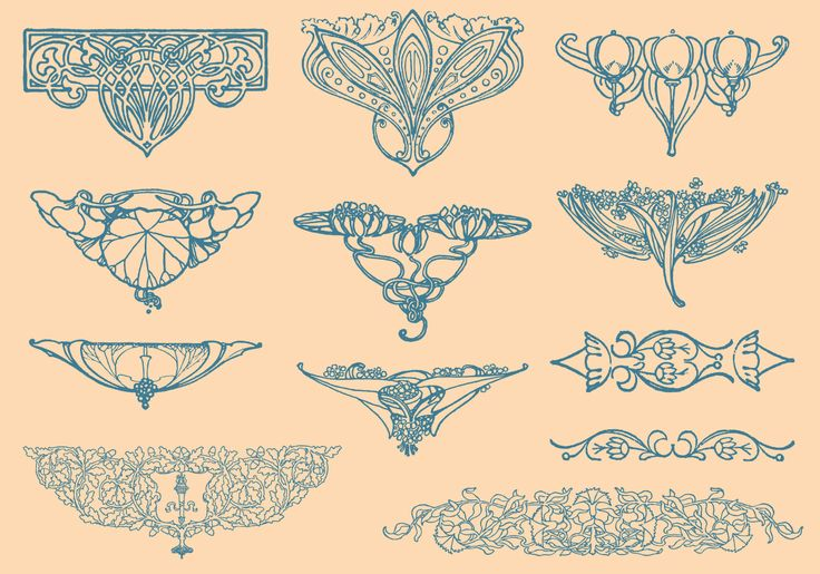Set of art nouveau design elements for your graphic projects, decoration publications or create great graphics in your designs.