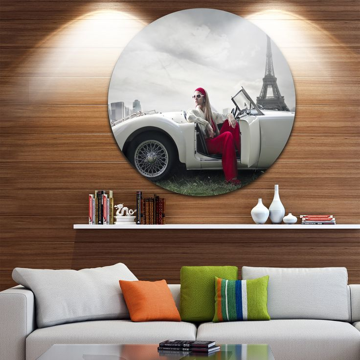 Designart 'Fashion Woman in Car' Art Car Disc Metal Artwork