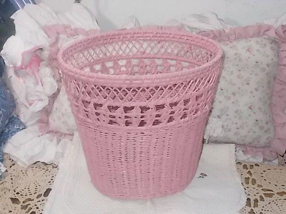 Basket Wicker Pink Wicker Waste Basket Wicker Trash Can