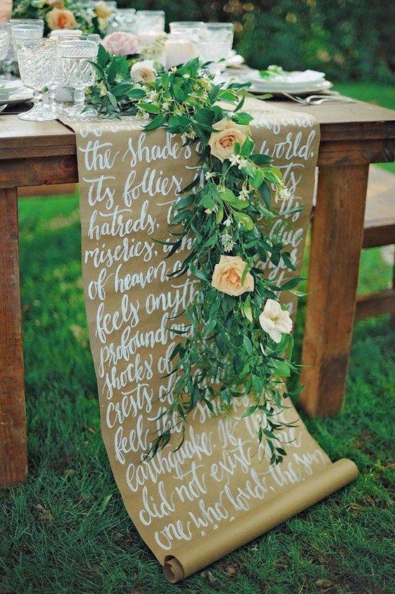 kraft paper wedding table runner / http://www.himisspuff.com/kraft-paper-wedding-decor-ideas/11/
