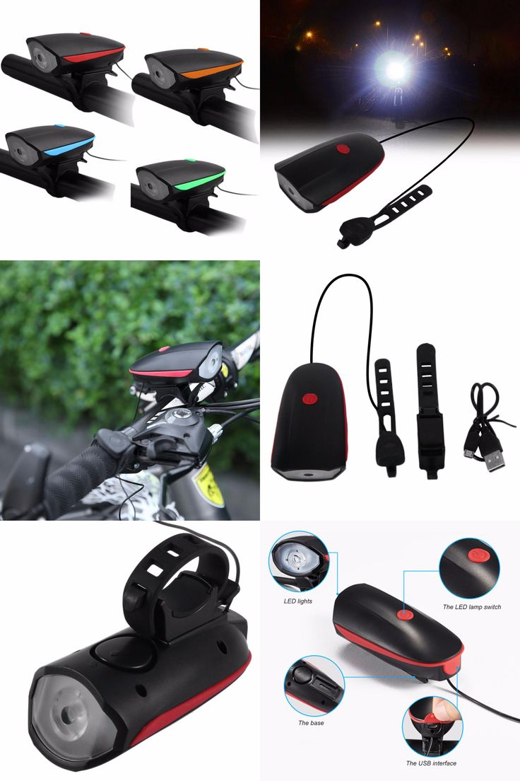 [Visit to Buy] 240LM USB Rechargeable Bike Bicycle Electric Horn Bicycle Bright Headlights Night Cycling Safety Headlight Bike Accessories New #Advertisement