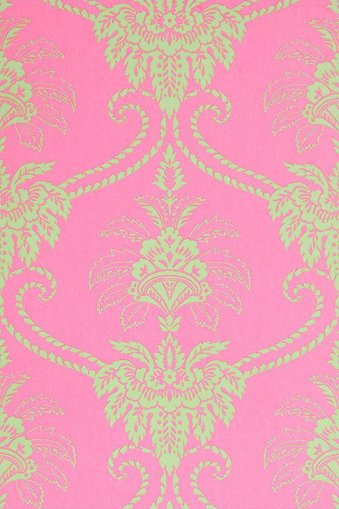 Anna French Wallpaper and Fabric - Wild Flora - Damask - Pink / Green