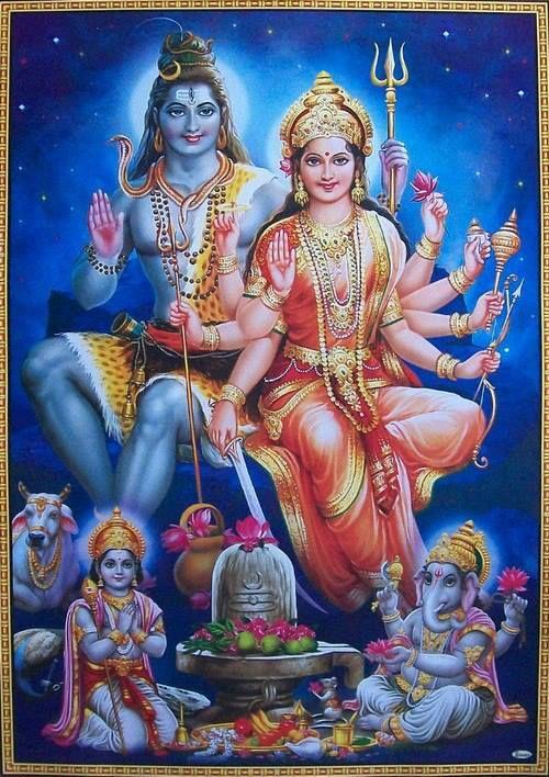 Divine family, Shiva, Sakthi, Ganesha and Muruga.