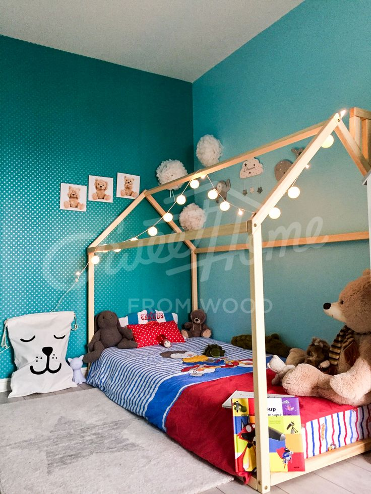 Green room, toddler bed, house bed, tent bed, children bed, wooden house, wood house, wood nursery, kids teepee bed, wood bed frame, wood house bed