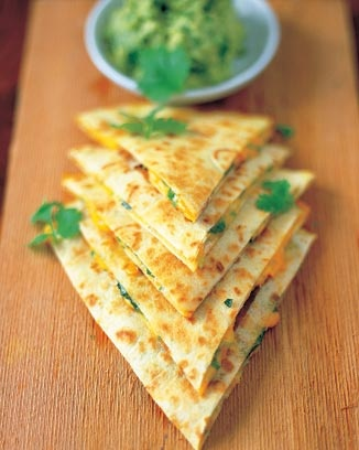 quesadillas with guacamole. Guacamole is too watery and not very flavorful. If making this recipe again, use a previous quacamole recipe. Quesadillas, though straightforward were good. Vegeterian entree 3.5