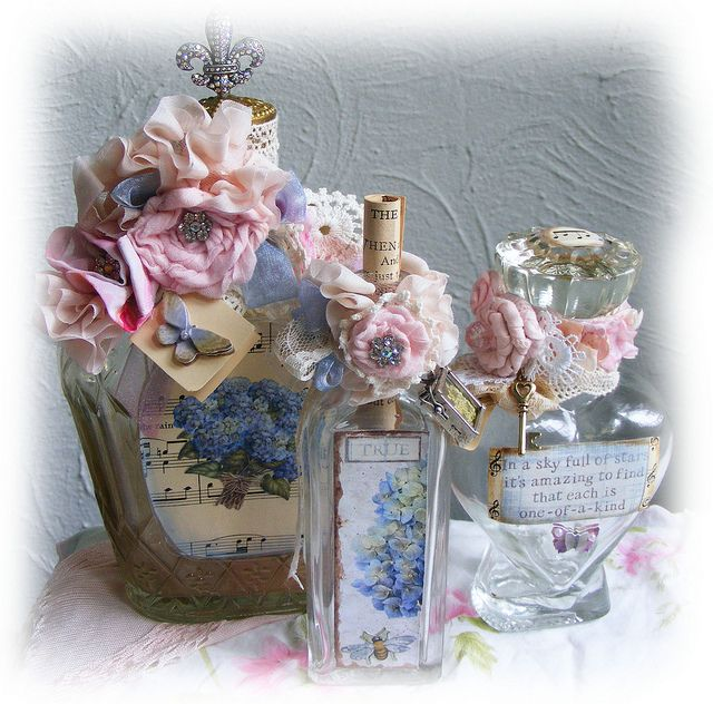 Altered Decorated Shabby Bottle Antique Glass