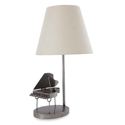Recycled metal lamp, 'Rustic Grand Piano' - Recycled Metal Piano Lamp with White Shade