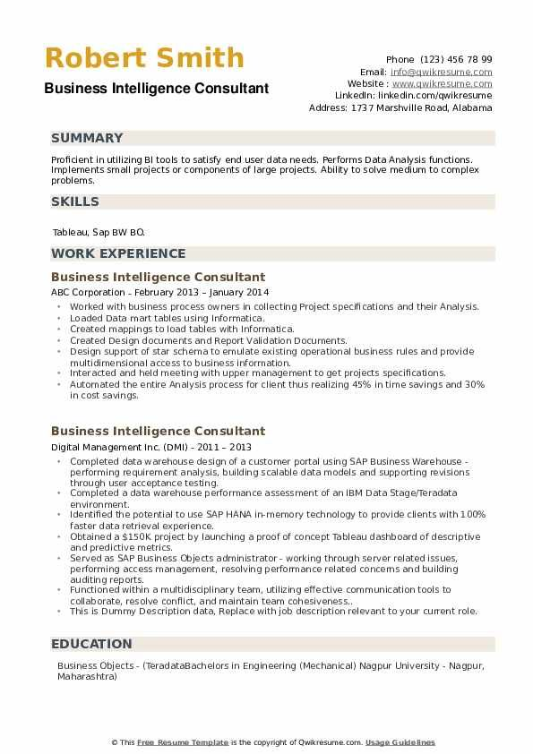 Business Intelligence Consultant Resume Samples In 2020 Business Intelligence Resume Sample Resume Templates
