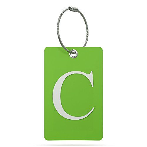 Luggage Tag Initial - Fully Bendable Tag w/ Stainless Steel Loop (Letter C)