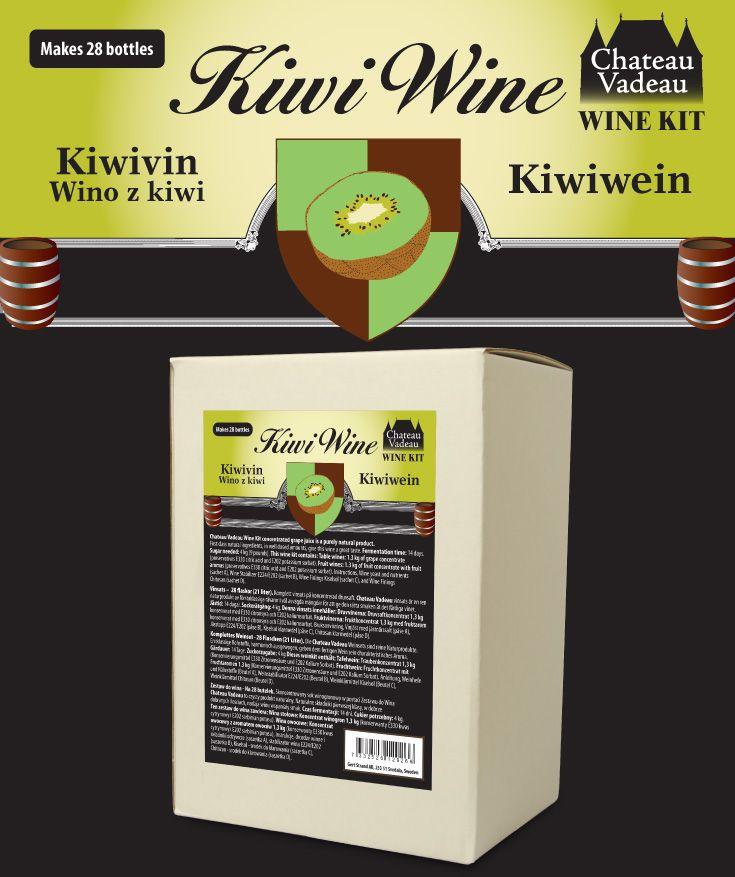 Chateau Vadeau Kiwivin vinsats ger 21 liter - 28 flaskor a 75 cl - lättdrucket bordvin. Tillsätt vatten och 4 kg socker. Alla andra ingredienser medföljer.