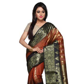Dark Orange and Black Pure Tussar Silk Saree with Readymade Blouse