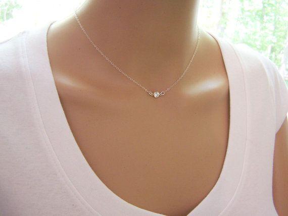 Tiny Diamond Necklace CZ Necklace Sterling by CYDesignStudio