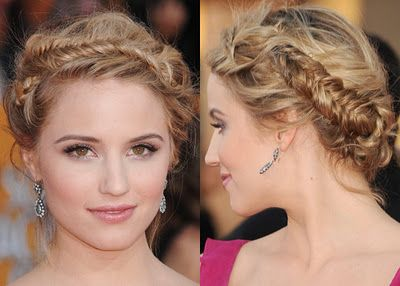 Pretty braided updo: Fish Tail, Braids Updo, Dianna Agron, Prom Hairstyles, Hairs Styles, Diannaagron, Fishtail Braids, Agron Tough, Sagging Awards