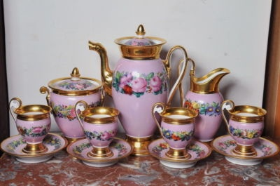 omg- I was born in the wrong era...Item image   Floral, Gold & Pink Ground Hand Painted Antique Russian Porcelain Tea Set c 1820 Pink AND Roses !