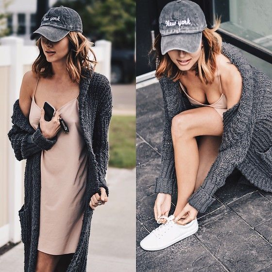Get this look: http://lb.nu/look/8277365  More looks by Amber: http://lb.nu/loveambervictoria  Items in this look:  Noul Slip Dress, Brandy Melville Usa Ny Cap, Urban Outfitters Knit Long Sweater, Zara White Sneakers