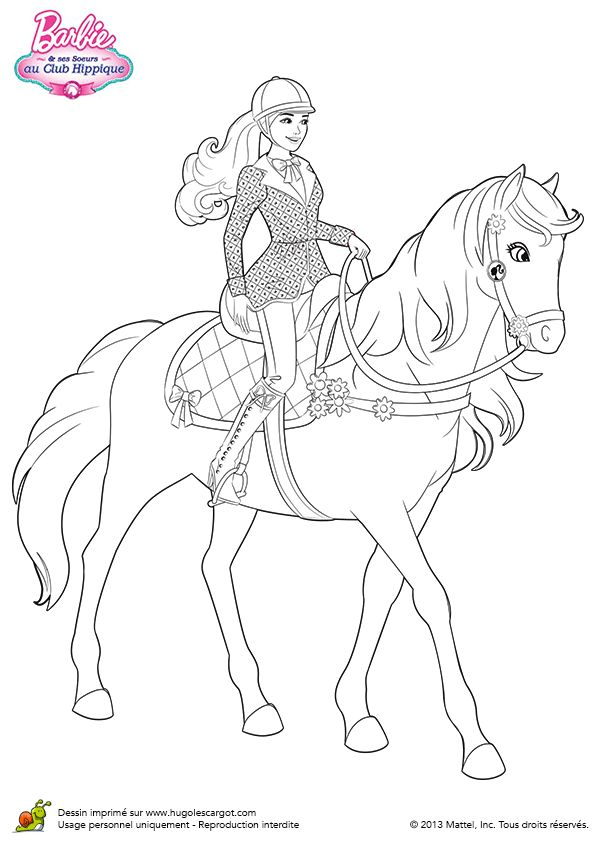 Coloriage de Barbie se baladant avec son cheval
