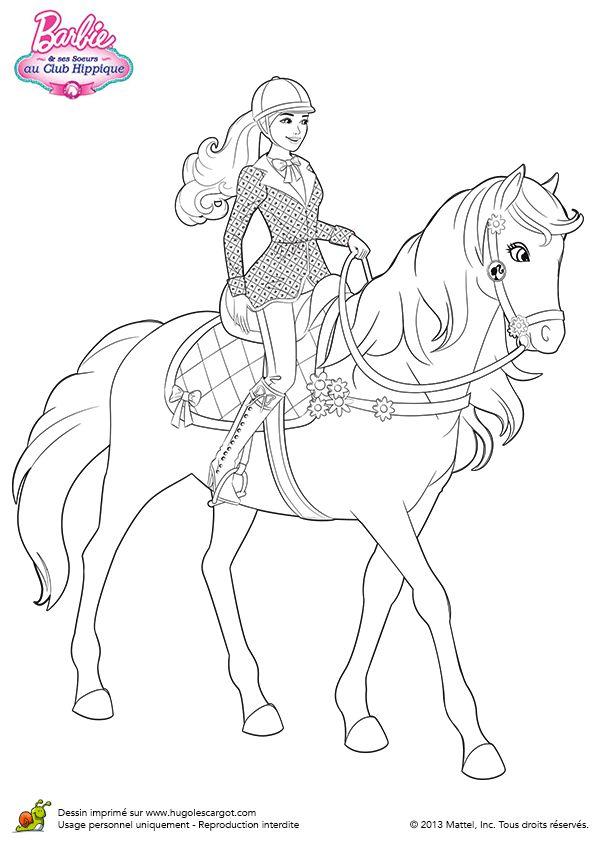 Coloriage de Barbie se baladant avec son cheval                                                                                                                                                                                 Plus