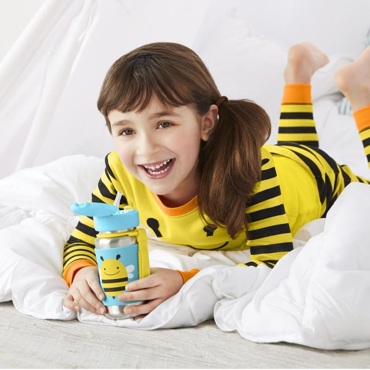 Morning tea before school in #SkipHop jammies and a bee #SkipHopmug!