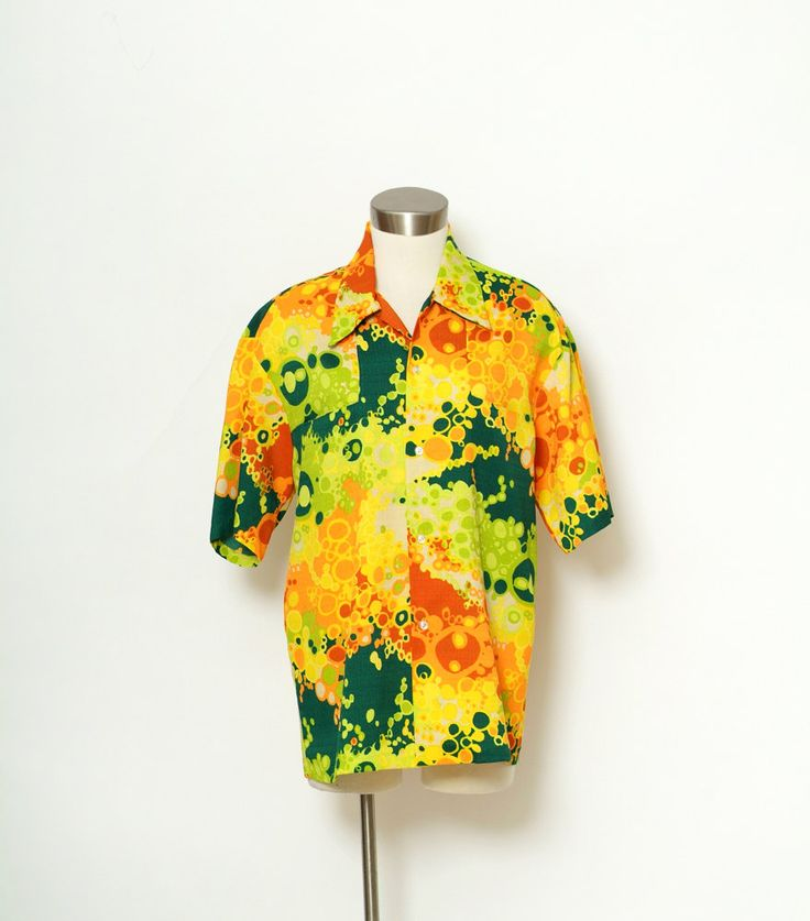 Shirt Tiki Shirt / Vintage 70s / Shirt Short Sleeve / Vintage 60s Hawaiian Shirt Mens Rockabilly Shirt Novelty by VintageBoxFashions on Etsy