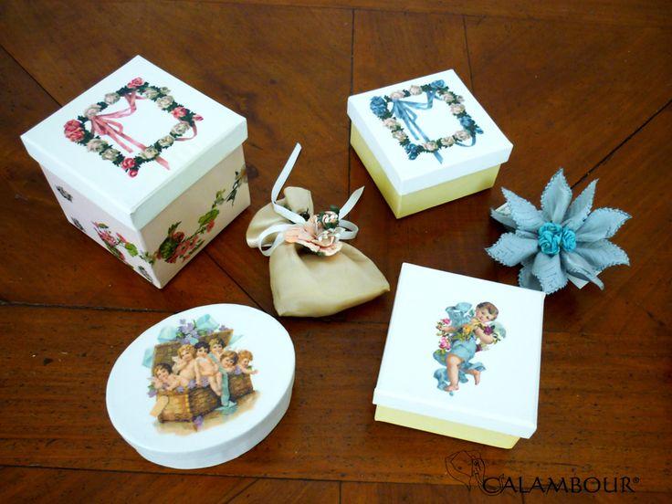 SWEET BOXES DECORATED WITH CALAMBOUR PAPER - PAU 032 - http://www.calambour.it/it/le-nostre-carte/carte-di-riso/pau.html#!Pau_032