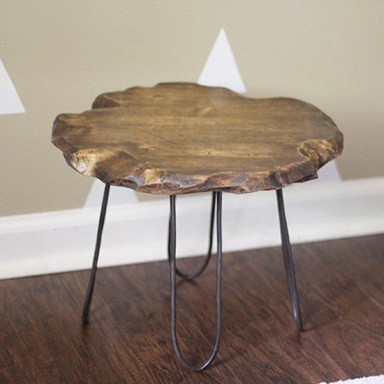How to create a DIY live edge wooden stool top and hairpin style legs. No welding required!