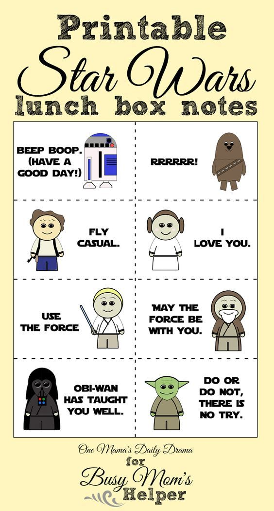 Printable Star Wars Lunch Box Notes | 8 cute cards with quotes from Luke, Yoda, Vader, etc.