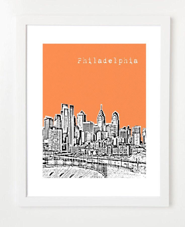 Philadelphia Skyline Poster - Philadelphia Pennsylvania Print - Philadelphia City Art - VERSION 1 by BugsyAndSprite on Etsy https://www.etsy.com/listing/105440653/philadelphia-skyline-poster-philadelphia