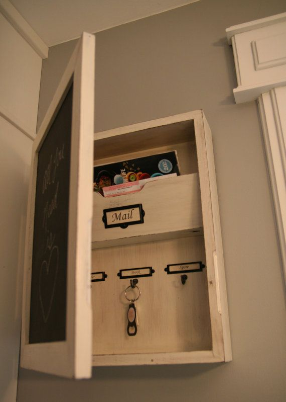 Entryway Orgainzer Chalkboard Mail Sorter Key Holder