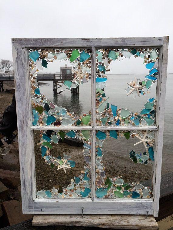 Four pane beach glass window by beachcreation on Etsy