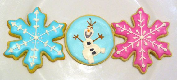 Handmade Custom Frozen and Olaf Theme Decorated Sugar Cookie Favors for Girl or Boy Birthday Party on Etsy, $35.00