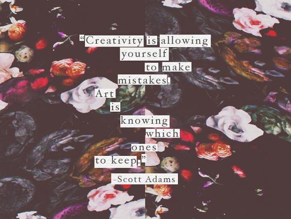"""Scott Adams quote - """"Creativity is allowing yourself to make mistakes. Art is knowing which ones to keep."""""""
