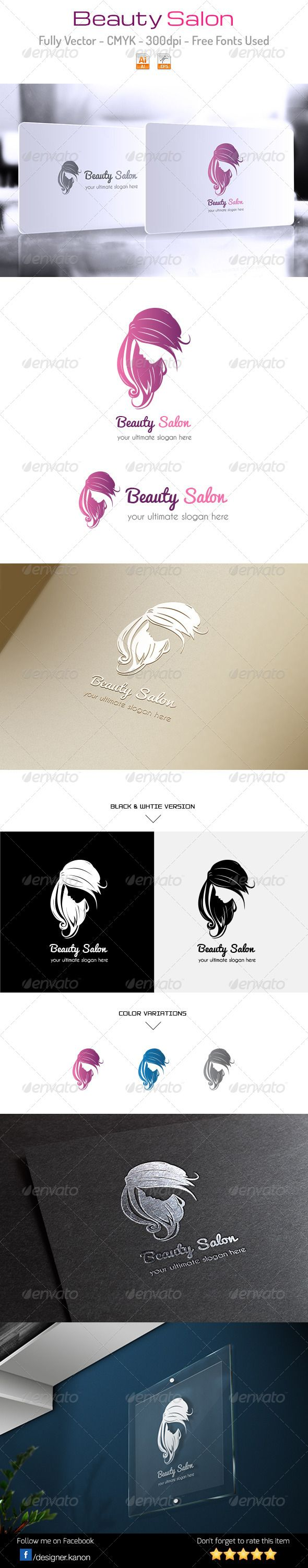 Beauty Salon Logo #GraphicRiver Beauty Salon is a best logo for many type of businesses, such as fashion, hairdresser, spa, saloon, natural products, shampoo, hair vitamin, beauty salons, gift shops, jewelers, florists and many others Everything is done in vector, so it his highly customizable and can be resized without loss of quality. Excellent logo,simple and unique. Included : AI, EPS_10, CDR. File is easy to editing. Font used : Pacifico Caviar Dreams If you buy and like it, please rate…
