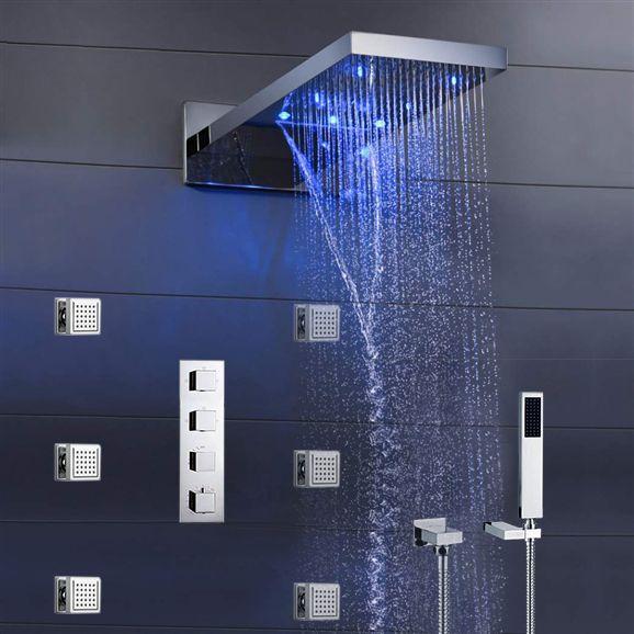 8/'/' Thermostatic Brushed Nickel Bathroom Shower Rainfall Faucet Set Massage Jets