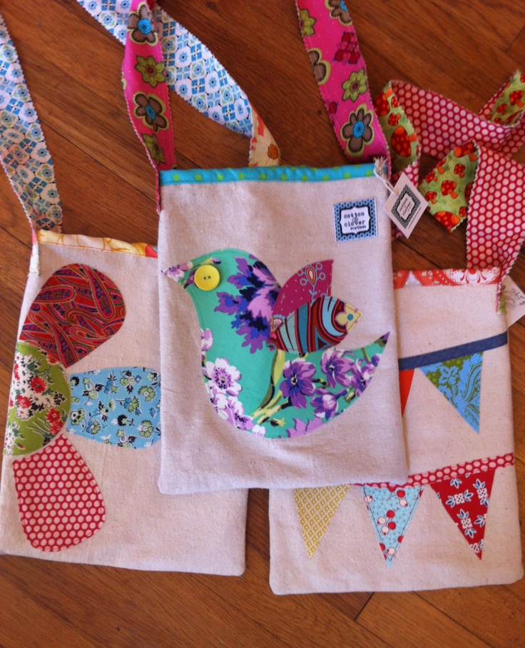Cotton and Clover canvas appliqué bags for girls