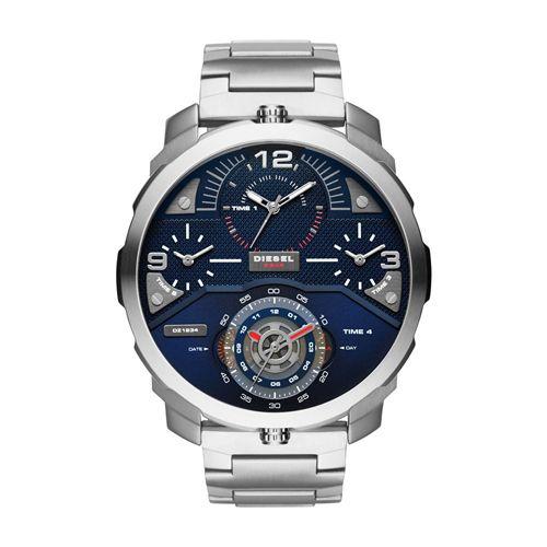 Diesel DZ7361 Machinus Sliver Stainless Steel Herrenuhr. Dieser runde Uhr hat ein Edelstahlgehäuse und eine Edelstahl-Band. Darüber hinaus wird die Uhr mit extra harten Mineralglas ausgestattet.