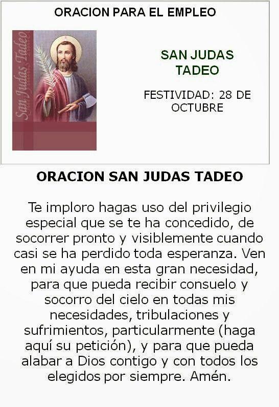 San Judas Tadeo, oración pedir empleo