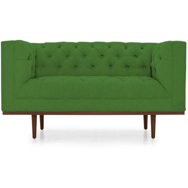 joybird welles mid century modern green loveseat liked on polyvore featuring home